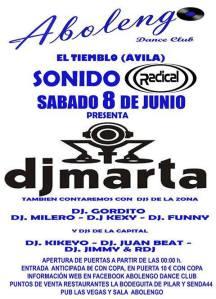 Fiesta Radical con DJ MARTA en Abolengo Dance Club. El Tiemblo, Ávila